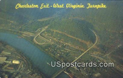 Charleston Exit - West Virginia Turnpike Postcards, West Virginia WV Postcard