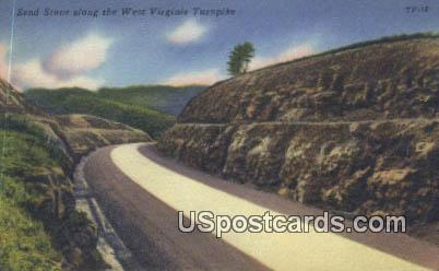Sand Stone - West Virginia Turnpike Postcards, West Virginia WV Postcard