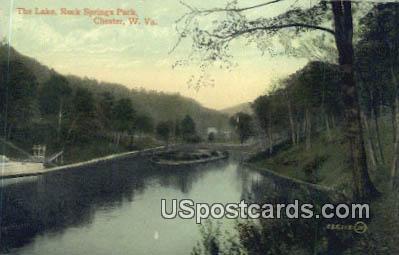 Lake, Rock Springs Park - Chester, West Virginia WV Postcard