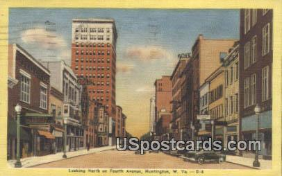 North on Fourth Avenue - Huntington, West Virginia WV Postcard
