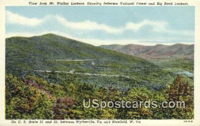 Mt Walker Lookout - Bluefield, West Virginia WV Postcard
