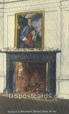 Fireplace, Harewood - Charles Town, West Virginia WV Postcard