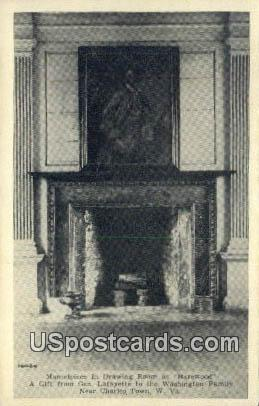 Mantelpiece, Drawing Room, Harewood - Charles Town, West Virginia WV Postcard