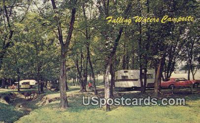 Falling Waters Campsites - West Virginia WV Postcard