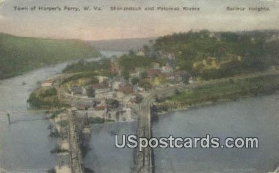 Shenandoah & Potomac Rivers - Harpers Ferry, West Virginia WV Postcard