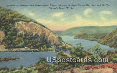 Junction of Potomac & Shenandoah Rivers - Harpers Ferry, West Virginia WV Postcard