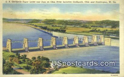 US Gallipolis Super Locks & Dam - Huntington, West Virginia WV Postcard