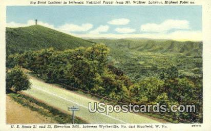 Big Bend Lookout - Jefferson National Forest, West Virginia WV Postcard