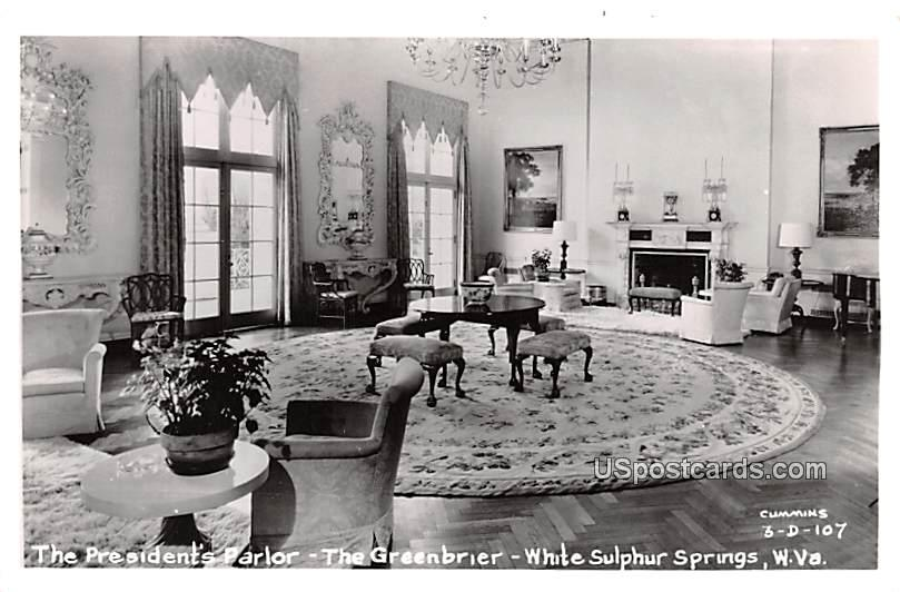 President's Parlor - White Sulphur Springs, West Virginia WV Postcard