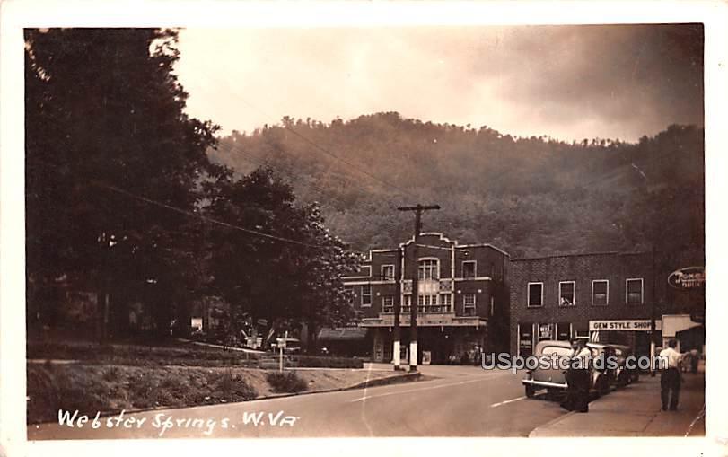 Street Scene - Webster Springs, West Virginia WV Postcard
