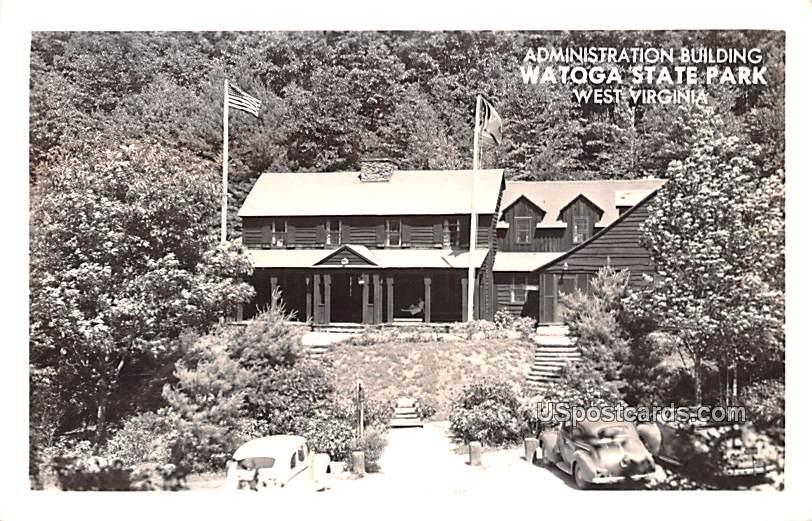 Administration Building - Watoga State Park, West Virginia WV Postcard