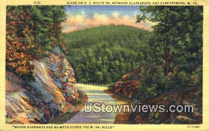 Clarksburg - Parkersburg, West Virginia WV Postcard