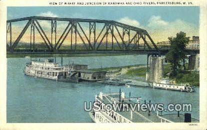 Kanawha & Ohio Rivers - Parkersburg, West Virginia WV Postcard