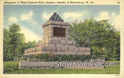 Monument to Major Gen. Adam Stephen - Martinsburg, West Virginia WV Postcard