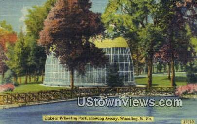 Lake, Wheeling Park, Aviary - West Virginia WV Postcard