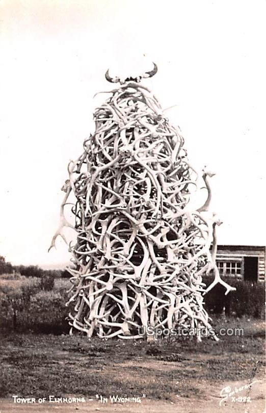 Tower of Elkhorns - Afton, Wyoming WY Postcard