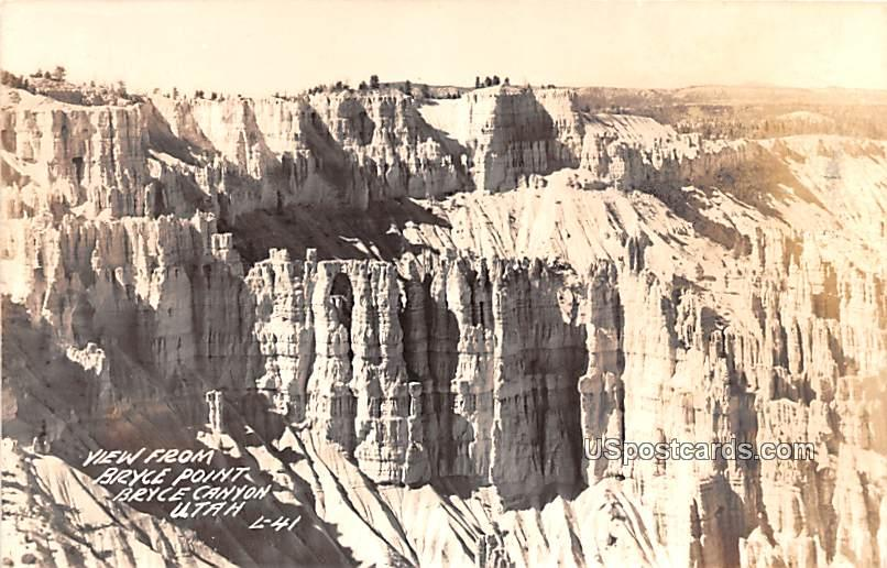 View from Bryce Point - Bryce Canyon, Wyoming WY Postcard