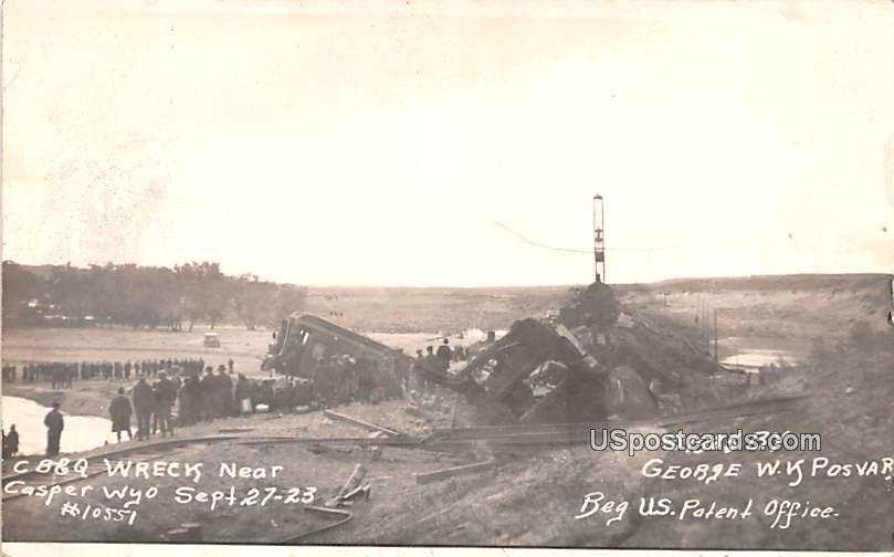 CB & Q Wrecks Sept 27-23 - Casper, Wyoming WY Postcard