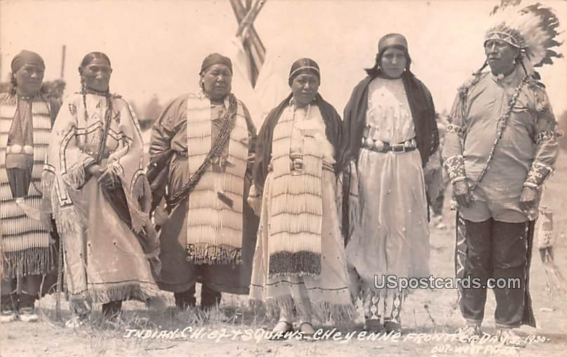 Indian Chief and Squaws - Cheyenne, Wyoming WY Postcard
