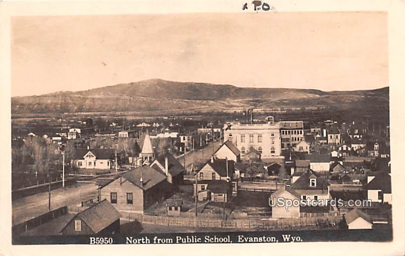 North from Public School - Evanston, Wyoming WY Postcard