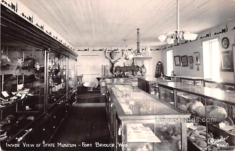 Inside View of State Museum - Fort Bridger, Wyoming WY Postcard