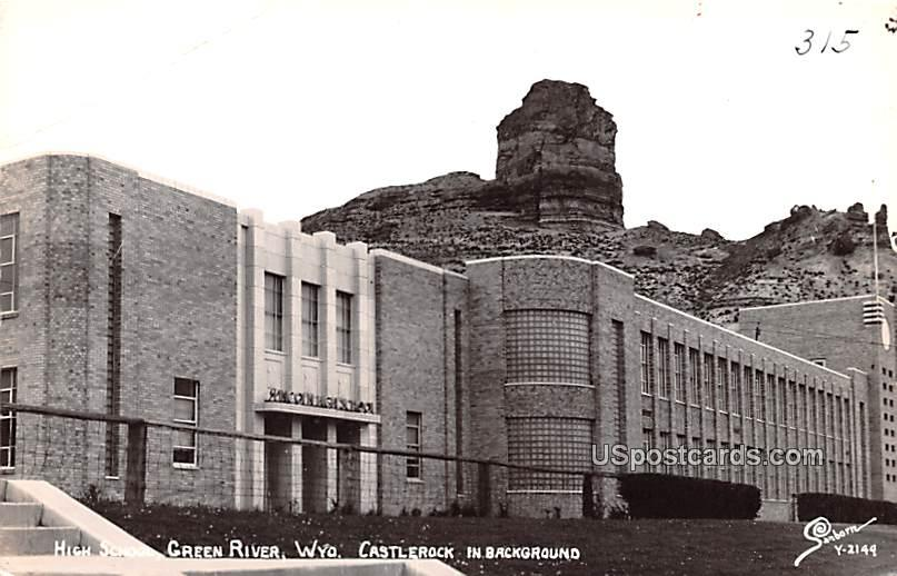 High School - Green River, Wyoming WY Postcard