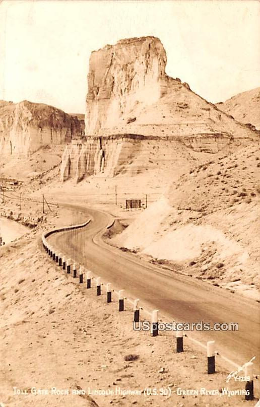 Toll Gate Rock and Lincoln Highway - Green River, Wyoming WY Postcard