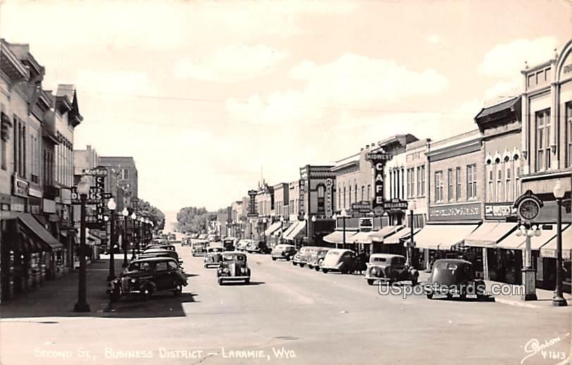 Second Street - Laramie, Wyoming WY Postcard