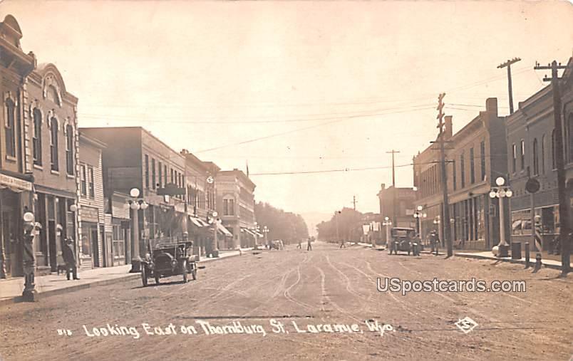 Looking East on Thornblurg Street - Laramie, Wyoming WY Postcard