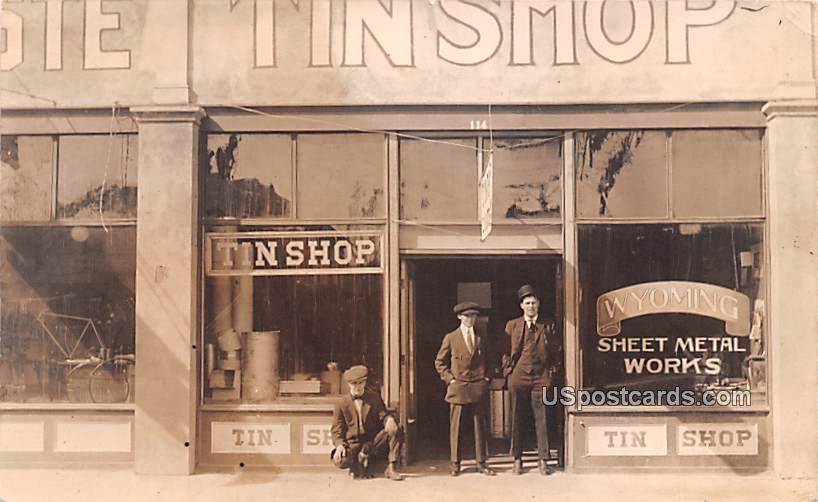 Tin Shop - Misc, Wyoming WY Postcard