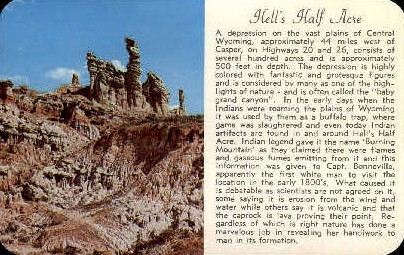 Silver Lake - Hell's Half Acre, Wyoming WY Postcard