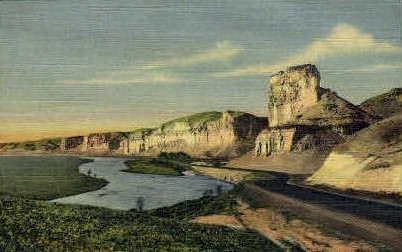 Toll Gate Rock and Palisades - Green River, Wyoming WY Postcard