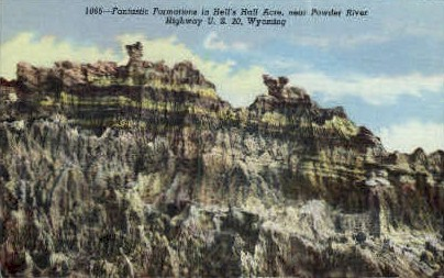 Formations in Hells Half Acre - Hell's Half Acre, Wyoming WY Postcard