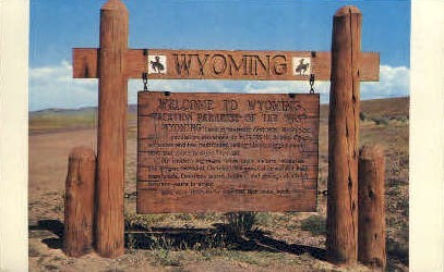 Welcome to Wyoming Sign - Misc Postcard