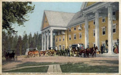Departing Stages, The Lake Hotel - Yellowstone National Park, Wyoming WY Postcard