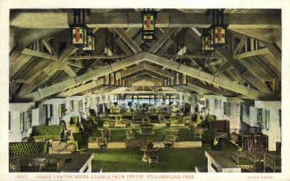 Grand Canyon Hotel Lounge - Yellowstone National Park, Wyoming WY Postcard
