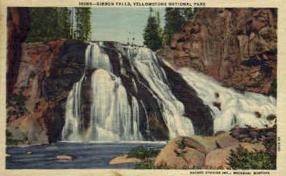Gibbon Falls - Yellowstone National Park, Wyoming WY Postcard