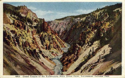 Grand Canyon of the Yellowstone - Yellowstone National Park, Wyoming WY Postcard