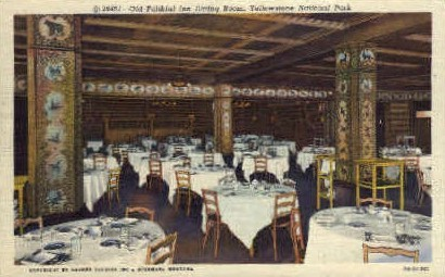 Dining Room, Old Faithful Inn - Yellowstone National Park, Wyoming WY Postcard
