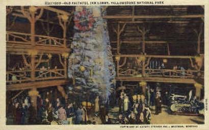 Lobby, Old Faithful Inn - Yellowstone National Park, Wyoming WY Postcard