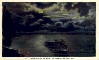 Moonlight on the Lake - Yellowstone National Park, Wyoming WY Postcard