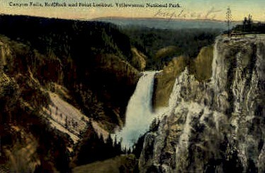 Canyon Falls, Red Rock, & Point Lookout - Yellowstone National Park, Wyoming WY Postcard
