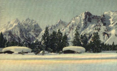 Winter, Tetons - Misc, Wyoming WY Postcard