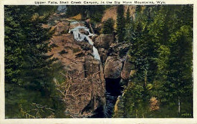 Upper Falls, Shell Creek Canyon - Big Horn Mountains, Wyoming WY Postcard