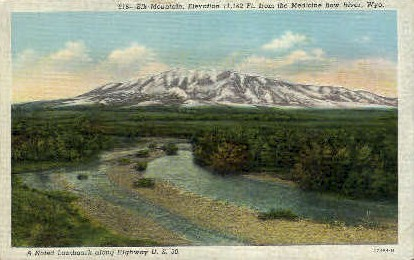 Elk Mountain - Medicine Bow River, Wyoming WY Postcard