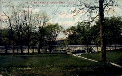 Old Stone Bridge - Government Island, Wyoming WY Postcard