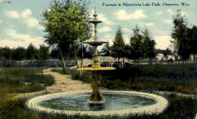 Fountain, Minnehaha Lake Park - Cheyenne, Wyoming WY Postcard