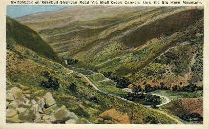Switchbacks, Shell Creek Canyon - Big Horn Mountains, Wyoming WY Postcard