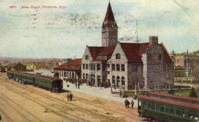 Union Depot - Cheyenne, Wyoming WY Postcard