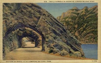 Triple Tunnels, Shoshone Canyon - Yellowstone National Park, Wyoming WY Postcard
